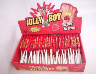 Jolly Boy super tattoo lolly, strawberry