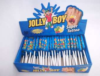 Jolly Boy super tattoo lolly, tutti-frutti